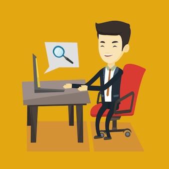 Bedrijfs mens die informatie over internet zoekt.