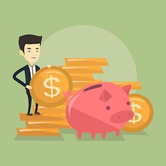 Bedrijfs mens die muntstuk aanbrengt in spaarvarken. Premium Vector
