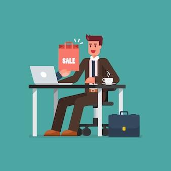 Bedrijfs mens die online op laptop winkelt