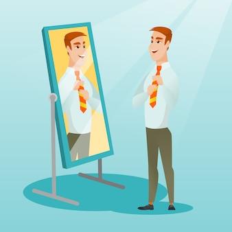 Bedrijfs mens die zelf in de spiegel kijkt.