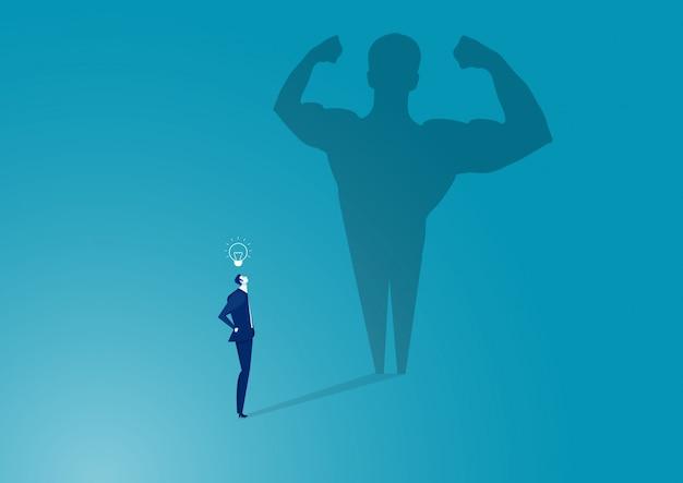 Bedrijfs mens met grote schaduw. van succes, kwaliteit van leiderschap.