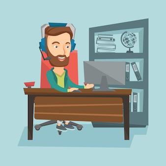Bedrijfs mens met hoofdtelefoon die op kantoor werkt.