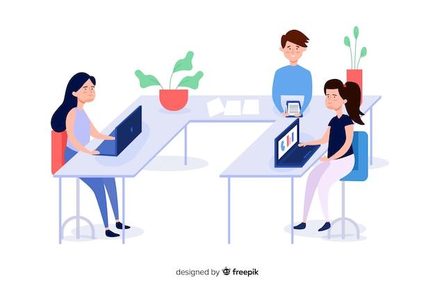 Bedrijfs mensen bij geïllustreerde bureaus