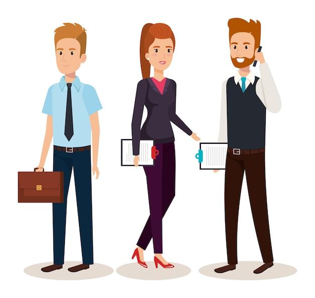 Bedrijfs mensen isometrisch avatars vectorillustratieontwerp