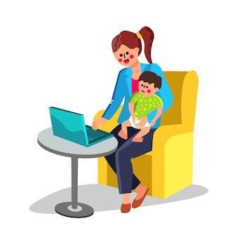Bedrijfs moeder met baby bij de hand werken