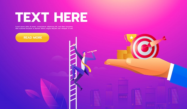 Bedrijfs vectorconcept met zakenman op een ladder met telescoop