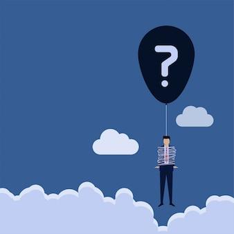 Bedrijfs vlakke vectorconceptenmens die rond een ballonkoord wordt verpakt met vraagtekenmetafoor van probleem.