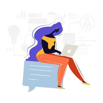 Bedrijfs vrouw die aan laptop werkt
