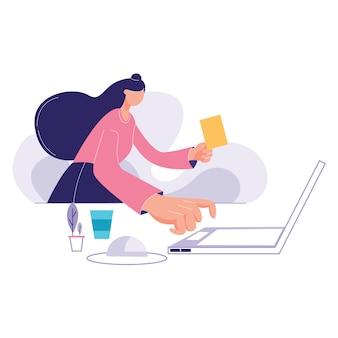 Bedrijfs vrouw die laptop met behulp van