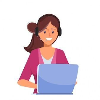 Bedrijfs vrouw die met laptop aan call centre werkt.