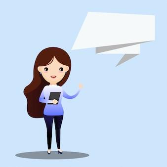 Bedrijfs vrouw die met toespraakbel spreekt