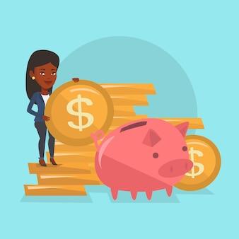 Bedrijfs vrouw die muntstuk in spaarvarken zet.