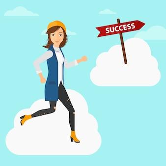 Bedrijfs vrouw die naar succes beweegt.