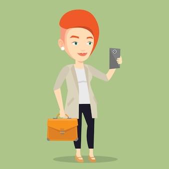 Bedrijfs vrouw die selfie vectorillustratie maakt.