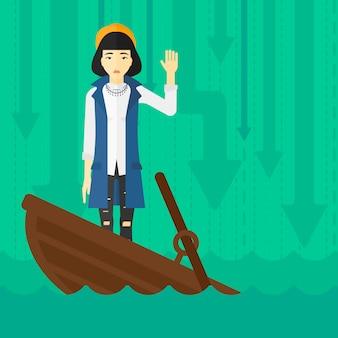 Bedrijfs vrouw die zich in dalende boot bevindt.