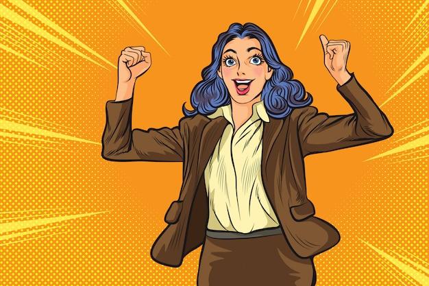 Bedrijfs vrouw gelukkig in pop-art