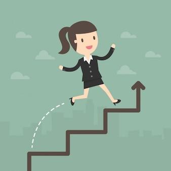 Bedrijfs vrouw in een toenemende pijl