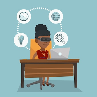 Bedrijfs vrouw in vrhoofdtelefoon die aan een computer werkt