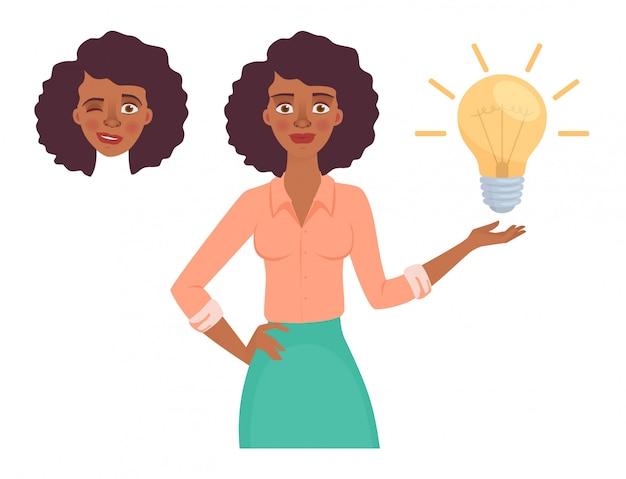 Bedrijfs vrouw met lamp