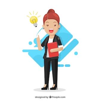 Bedrijfs vrouw met laptop en een idee