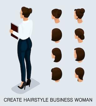 Bedrijfs vrouw met verschillende geplaatste hoofden