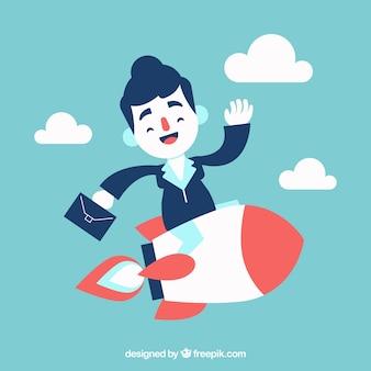 Bedrijfs vrouw op de top van een raket