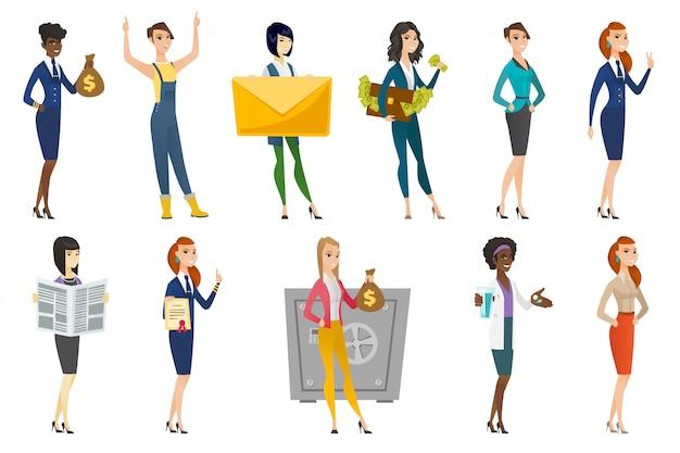 Bedrijfs vrouw, stewardess, artsenberoepsreeks