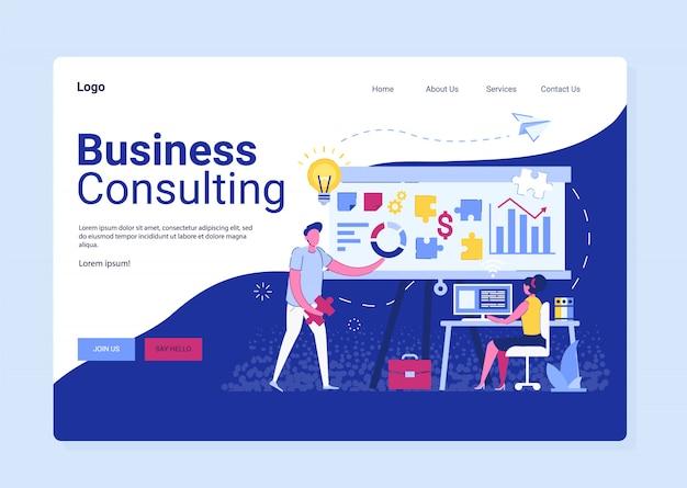 Bedrijfsadvies bestemmingspagina, onderzoek naar strategie. zakenmansamenwerking, adviseur en oplossingsdienst, mensencommunicatietechnologie