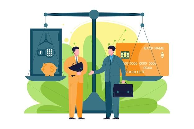 Bedrijfsadviesconcept. de expert adviseert de klant over financiële vraagstukken en geldallocatie, ondersteunt bij het ontwikkelen van een strategie, calculaties voor het behalen van doelen, succes en winst.