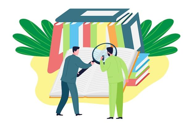 Bedrijfsadviesconcept. de expert geeft juridisch advies en ondersteuning bij het vinden van informatie en wetten, het ontwikkelen van een strategie voor het behalen van doelen, succes en winst. platte vectorillustratie.