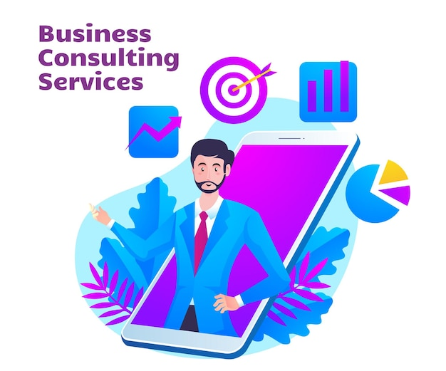 Bedrijfsadviesdienst met man en mobiel smartphonesymbool