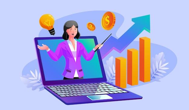 Bedrijfsadviesdienst met vrouw die uit een laptop komt en grafische afbeeldingen toeneemt