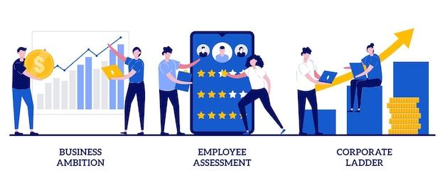 Bedrijfsambitie, werknemersbeoordeling, bedrijfsladderconcept met kleine mensen. persoonlijke groei illustratie set. doelverwezenlijking, projectondersteuning bij het opstarten, metafoor voor evaluatie van de prestatiebeoordeling.