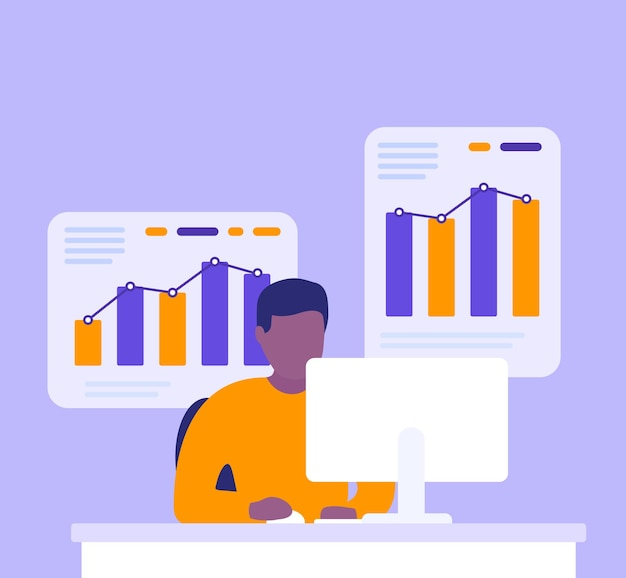 Bedrijfsanalist, man aan het werk met bedrijfsgegevens