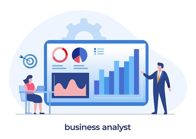 Bedrijfsanalistconcept, manageraudit, ondernemer, teamwerk, bedrijfsgrafiek en diagram, vlakke illustratie vectorsjabloon