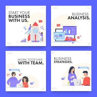 Bedrijfsanalyse en teamwerkconceptgebaseerde berichten of sjabloonontwerp in vier opties.