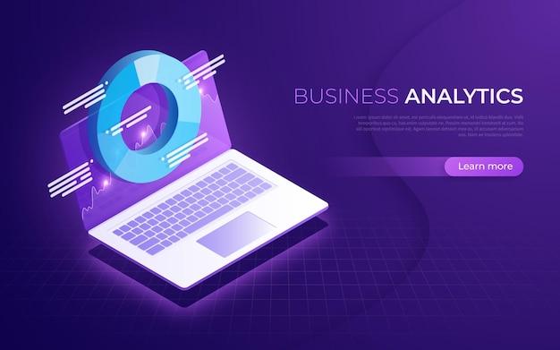 Bedrijfsanalyse, gegevensanalyse, isometrisch concept van de financiële strategie.