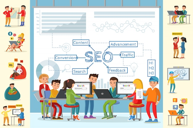 Bedrijfsanalyse infographic concept