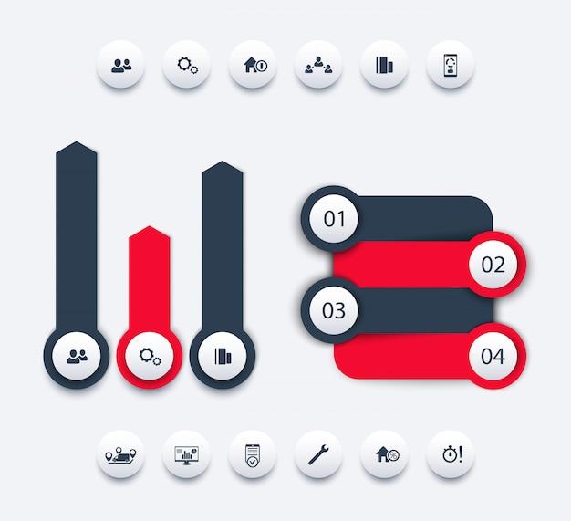 Bedrijfsanalyse infographic elementen, bedrijfsrapportontwerp, tijdlijn, stapetiketten, 1 2 3 4, groeipijlen, ronde pictogrammen, illustratie