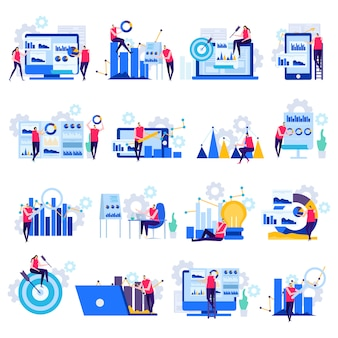 Bedrijfsanalyse vlakke pictogrammen