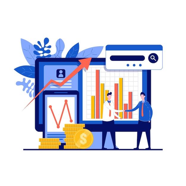 Bedrijfsanalyseconcept met karakter. investeringen en virtuele financiën.