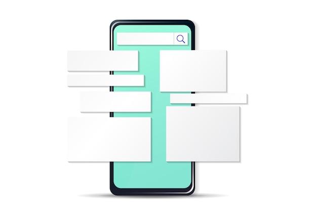 Bedrijfsanalyseconcept mock-up op scherm smartphone