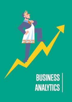Bedrijfsanalyseillustratie met zakenman