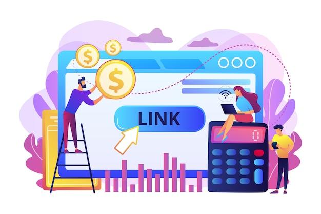 Bedrijfsanalyses, handelsstatistieken, seo. cpa-model kosten per acquisitie, kosten per conversie, concept van prijsmodel voor online advertenties.