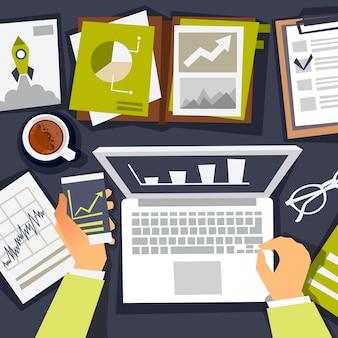 Bedrijfsanalyses. onderzoek bedrijfsstrategie. analist en het maken van afbeeldingen. vlakke afbeelding