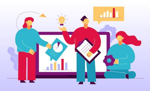 Bedrijfsanalyseteam zoekt geavanceerde oplossing. innovatieve idee creatie ontwikkeling planning bedrijf digitale marketing strategie. teamwork samenwerking, communicatie. ondernemers in de buurt van laptop