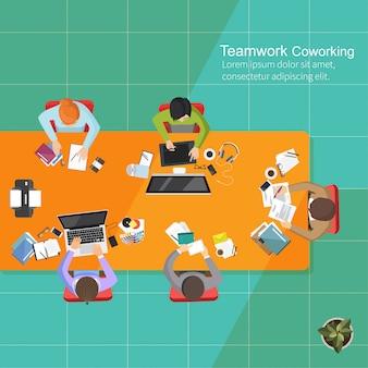 Bedrijfsanalyseteamwork, vlak ontwerp, creatieve het bureauwerkruimte van het teamwerk