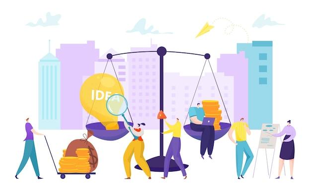Bedrijfsbalans met ideebol en cartoonfinanciënconcept