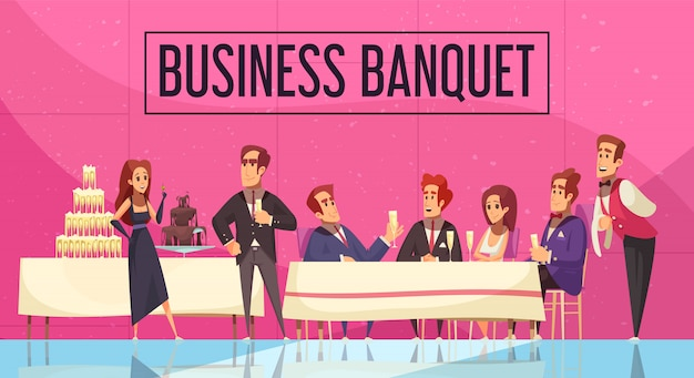 Bedrijfsbanket met mededeling van personeel en gasten van bedrijf op roze muurbeeldverhaal als achtergrond