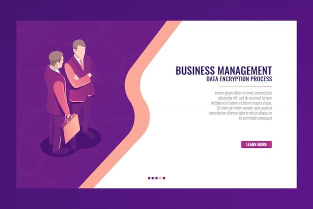 Bedrijfsbeheer communicatie concept, web-pagina sjabloon banner, zakenman met koffer isome